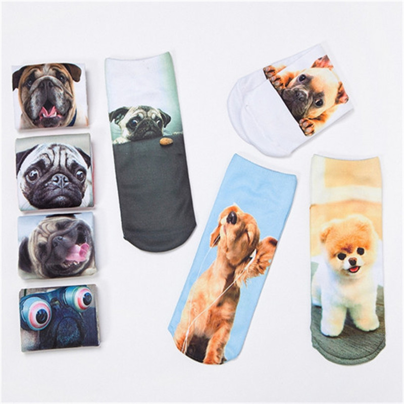 3D Print Socks Lovely dog Pattern Women Polyester Contrast Color Casual Cute Character Low Cut Ankle Socks Unisex Christmas 3206 ...