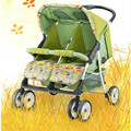 Carro de bebé de los gemelos se puede mentir y sentados lado a lado tipo multifuncional portátil plegable silla de coche de bebé doble