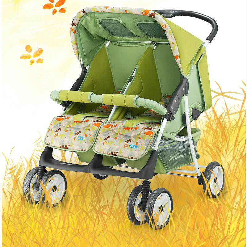 High landscape twins baby stroller lying sitting side by side mutiple newborn trolley multifunction portable folding child cart folding baby stroller lightweight baby prams for newborns high landscape portable baby carriage sitting lying 2 in 1