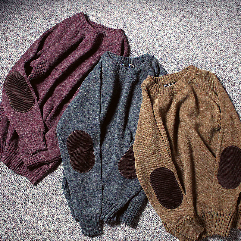 Men's Round-collar Knitted Sweaters Artistic Solid Color Retro Knit Japanese Men Clothing Patch Pullover Men's Sweater