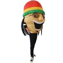 Adulto Inflável Engraçado Traje Jamaicano Cabeça Grande e Gordo Vestindo  Óculos De Sol Chapéu Ilusão Airblown Halloween Outfits 1c8cbd9d1f4