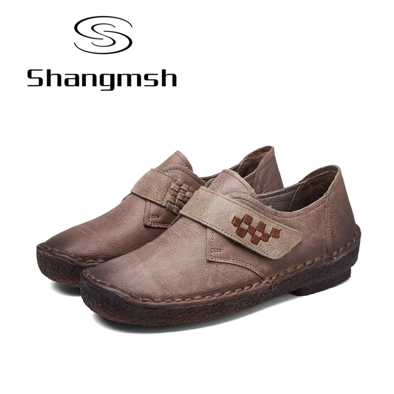 Shangmsh Shoes For Women 2017 New Autumn Genuine Leather Handmade Shoe Female Loafers Soft Mom Driving Fashion Flat Shoes