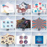 American Independence Day Plush Hooded Warm Blanket Dressing Hooded Blanket psychedelic tapestry