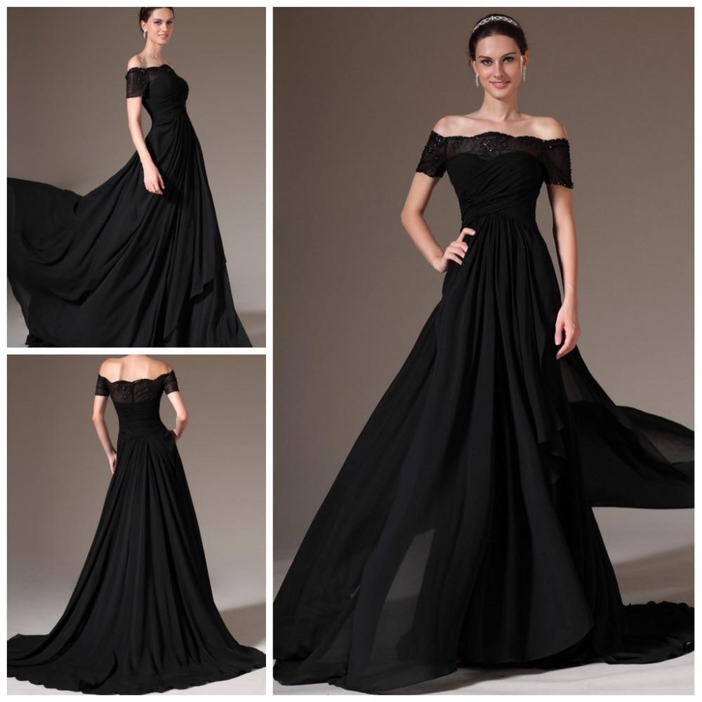 2014 new arrival black long evening dress off the shoulder