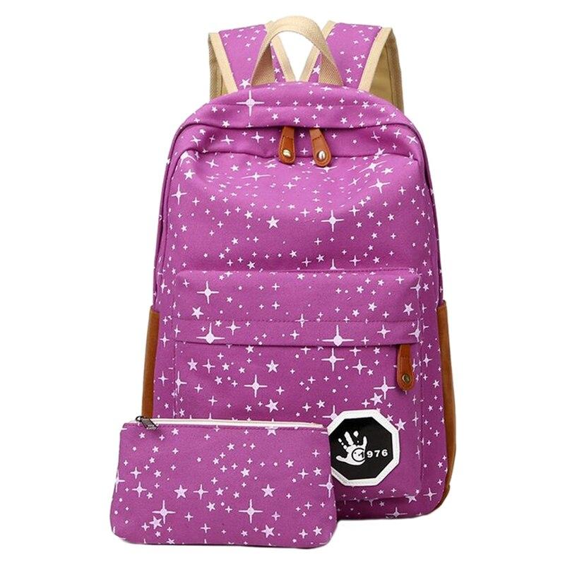 2 Pcs/set Fashion Cute Star Women Men Canvas Printing Backpack School Bag For Girl Boy Teenagers Casual Travel Bag Rucksack #3