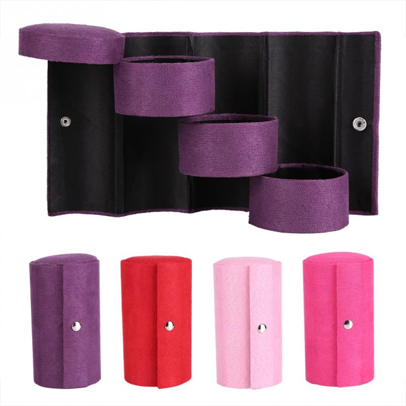 Cylinder Shaped Jewelry Storage Box Makeup Organizer For Women Gift Portable 3 Layers Choker Ring Necklace Box Display Caskets