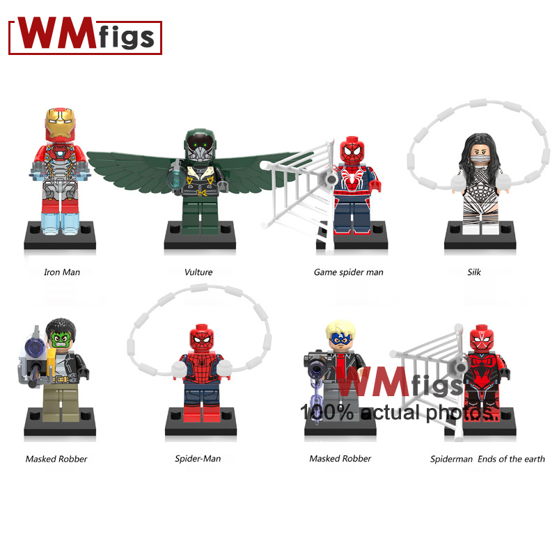 8pcs/lot Super Hero Iron Man Vulture Action Figure Spider Man Silk Masked Robber Building Blocks Gifts Friends Toys For Children Model Building