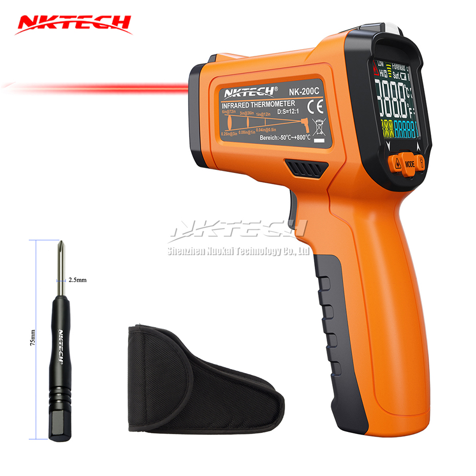 NKTECH NK-200C LCD Digital Laser Infrared IR Gun Thermometer -50~800 Celsius Ambient Temperature Thermocouple K-Type -40~500 fashlight nktech super bright nk 9t6 9x