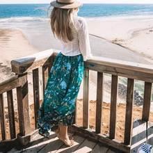 Women Bohemian Skrit 2019 Summer Floral Print Long Skirts Elastic Waist Lace Up Tassel Frills Skirt Gypsy Boho