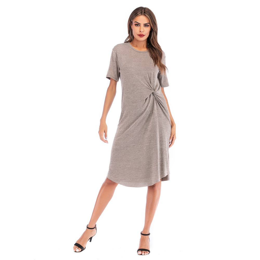 YYFS 2019 New fashion solid color soft cotton linen dress short sleeve plus size loose casual women summer midi dress Vestidos in Dresses from Women 39 s Clothing