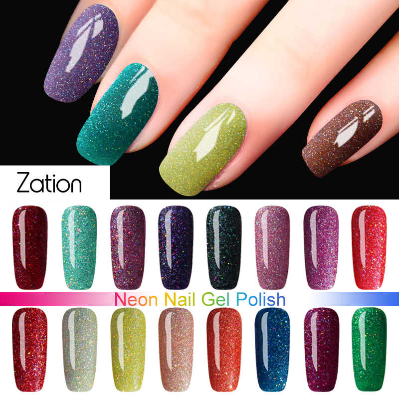Zation Bling Neon UV Color Gel Nail Polish Soak Off Shiny Hybrid Poly Gellak for Nail Gel Paint UV Gel Varnish Nails Art Store