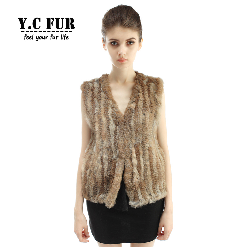 Hot Sales Women s Vest Winter 6 Colors Knit Natural Rabbit Fur Vests V Neck Waistcoats