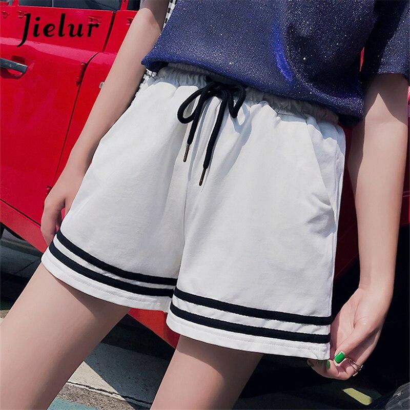 Jielur Simple Stripe Pockets Summer   Shorts   Black Korean Fashion Loose   Short   Women Casual M-XXL Chic Female   Shorts   White Dropship