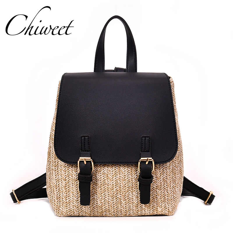 Summer Holiday Backpack Brand Designer Leather Straw Woven Backpacks Beach  Luxury Panelled Women Backpack Girl Lolita 3a1df448751b3