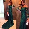 Árabe Vestidos de Noche Verde Oscuro Vestido de Noche de Encaje Ilusión Cuello de Manga Larga Robe De Soirée 2017 Runway Vestidos de Baile Vestido