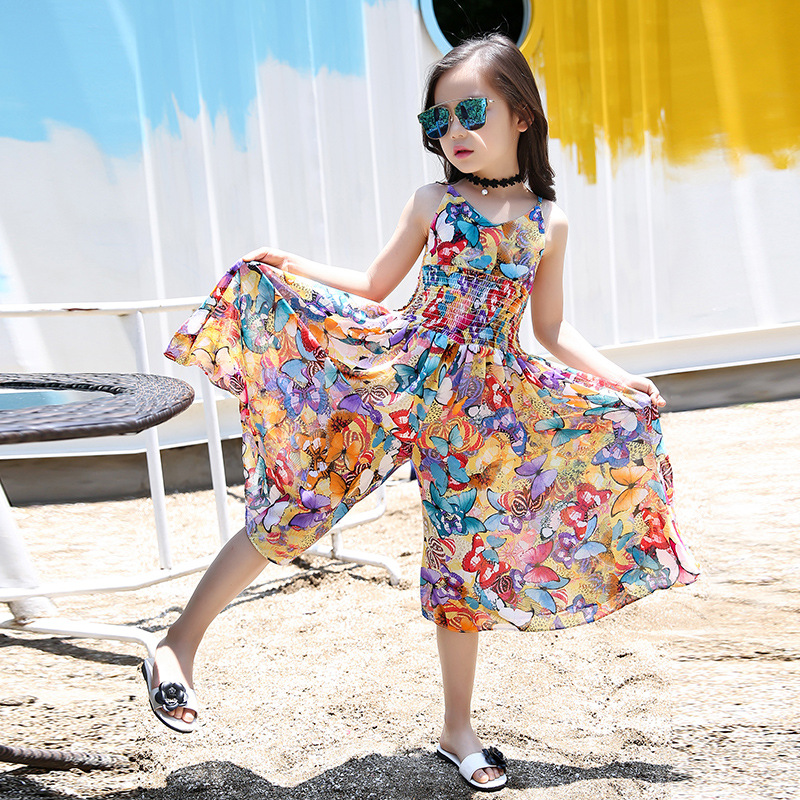 Summer Bohemian Style Girls Dress Floral Girls Jumpsuit Personality Dresses For Girls Chiffon Children S Clothing