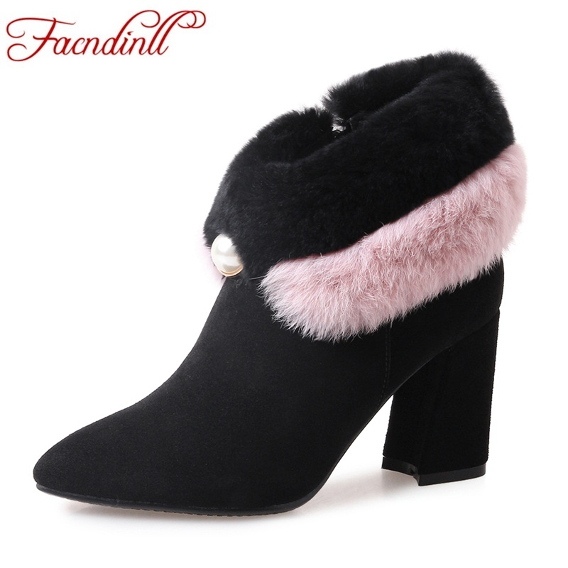FACNDINLL genuine leather resl fur shoes women winter snow ankle boots fashion high heels pointed toe shoes women ankle boots women winter flats genuine leather round toe match colored buckle rhinestone fur fashion ankle snow boots size 35 39 sxq0826