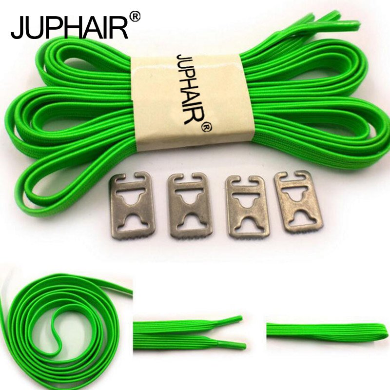 JUP 1-50 Pair  High Quality Green No Tie Shoelaces Men Women Kids Sports Sneakers Elastic Flat Shoes Laces Metal Shoelace Buckle high quality 1 pair right