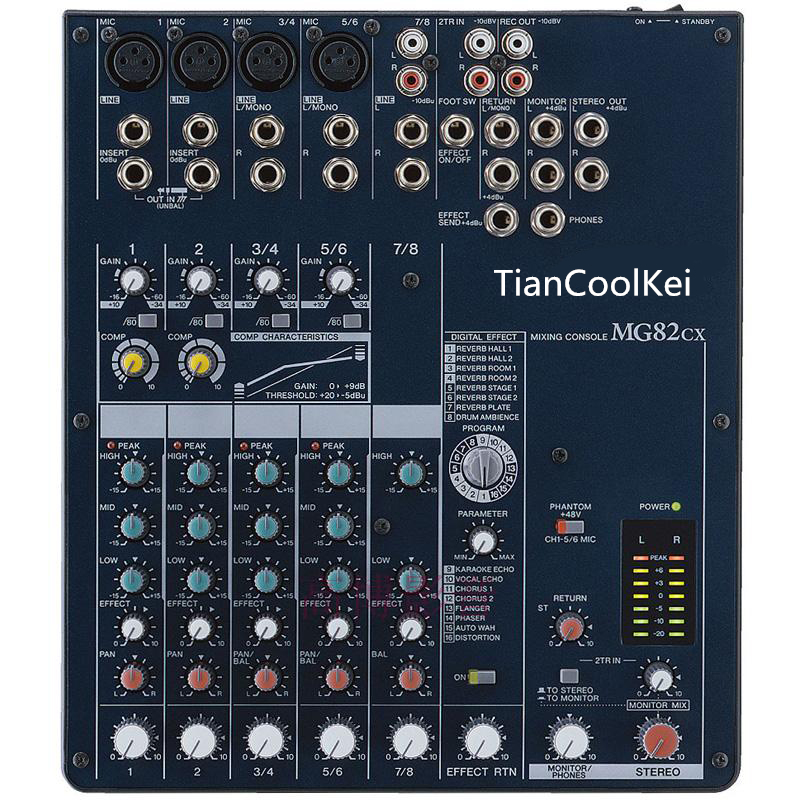 TIANCO MG82CX 8CH mixer professional stage DJ mixer 48V phantom power DSP with Effects karaoke mixer