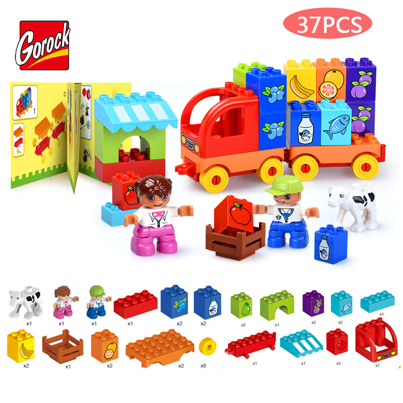 GOROCK 37PCS Bus Vehicle Model Large Particles Building Block City Canteen DIY Large Size Brick Toy Compatible Duploe For Kids umeile brand farm life series large particles diy brick building big blocks kids education toy diy block compatible with duplo