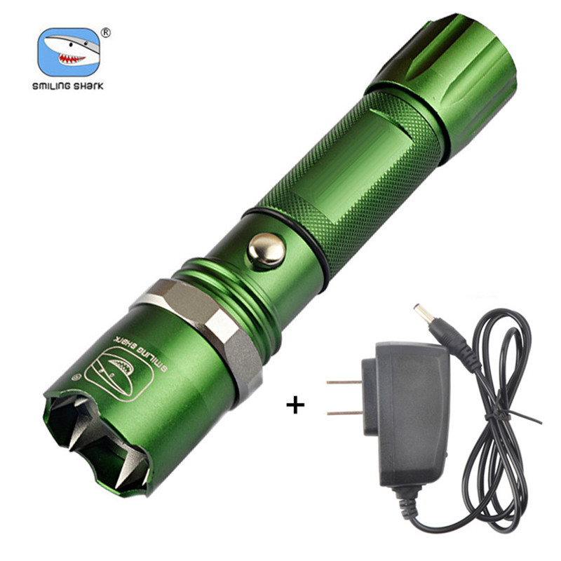 Super Bright Tactical Flashlight Zoom Riding Flashlights Strong Light Torch with Charger