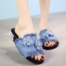 2018 New Summer Denim Slippers Women Outside Non-slip Flower Floor Slipper Slides