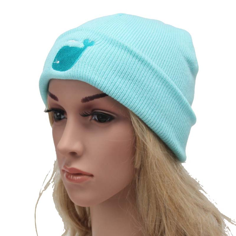 New Arrival Women's Cotton Hat Candy-colored Cap Cartoon Blue Whale Headgear Men's Winter Warm Elastic Beanies Hats Accessories the new children s cubs hat qiu dong with cartoon animals knitting wool cap and pile