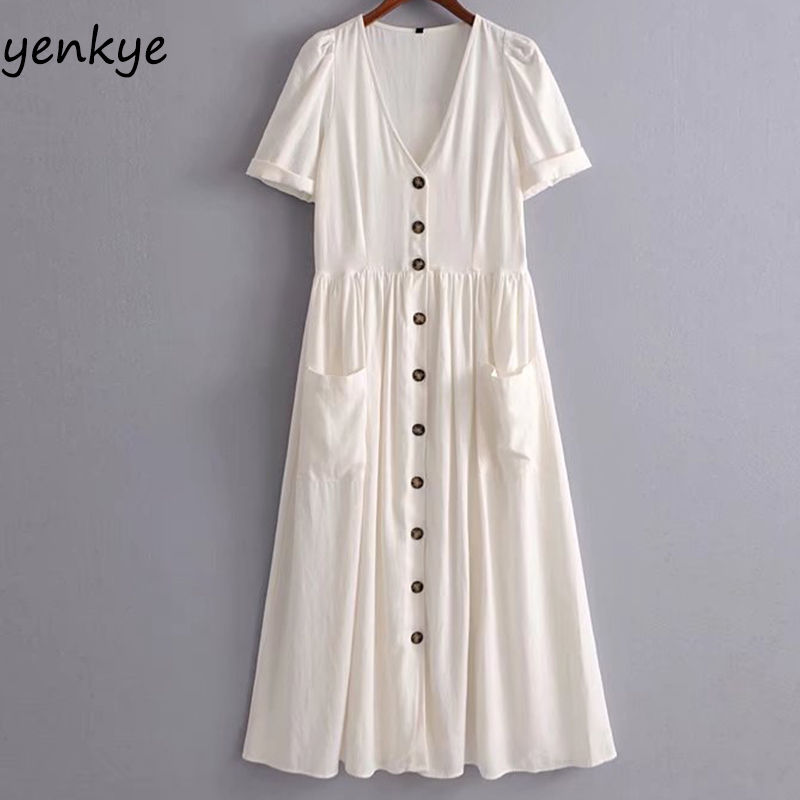 Solid Color Summer Dress 2018 Women Button Decoration Linen Dress Sexy V Neck Short Sleeve Big Pockets A-line Midi Casual Dress ...