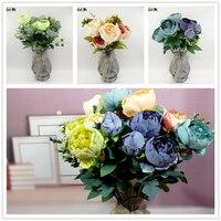Vintage Künstliche Pfingstrose Seidenblumen Bouquet Kränze Hochzeit Auto Dekoration Frühling Dekoration