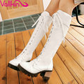 VALLKIN Size 34-43 Cool Women Motorcycle Boots Winter Thick High-heel Shoes Simple Lace Knee High Boots Black White Boots
