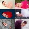 Bebé recién nacido Niñas niños Venda + Tutu Falda Ropa Venda de La Flor de Punto de Ganchillo de Vestuario Foto Fotografía Proposición Outfit