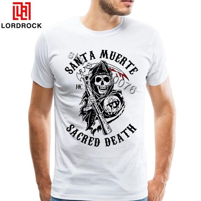 d4f2ea491258 2018 Santa Muerte T Shirt Men Unique Halloween Gothic Graphic Tee Amazing  Skull Design Boyfriend T