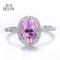 HELON Ladies Elegant Fashion Jewelry Ring Real 14K White Gold Oval 8x6mm Pink Topaz Engagement Wedding