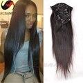 2015 la venta caliente de seda derecho Clip en extensiones de cabello humano brasileño del pelo humano 120 g 160 g 220 g del pelo humano Clip en extensiones de cabello