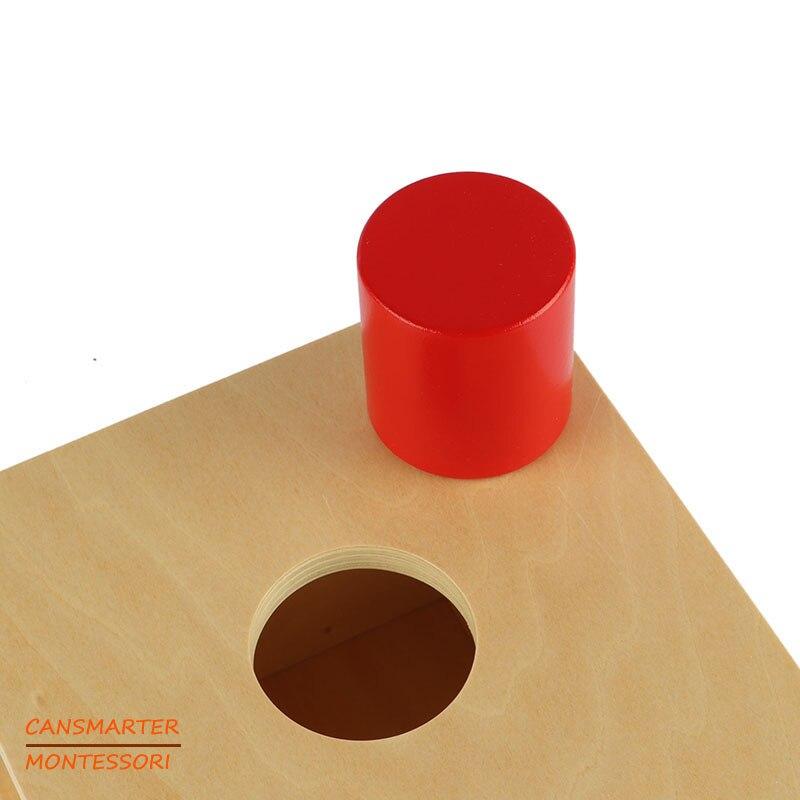 Montessori Kids Toy Wood Imbucare Box With Large Cylinder Preschool Training