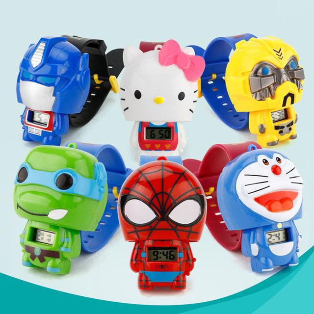 Children Watch Doraemon  Batman Captain America Hello Kitty Nijago Hulkbuster Iron Man Spiderman Toy for Children Watch Girl Boy