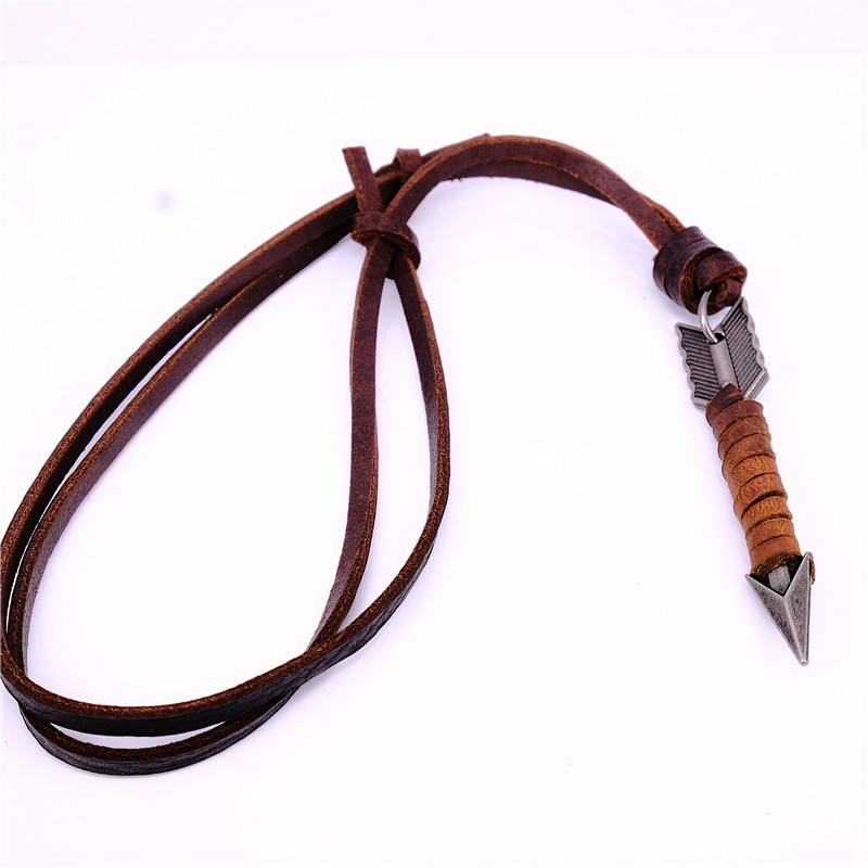 NIUYITID 100% Genuine Leather Men Necklaces Pendants Punk Vintage Adjustable Brown Rope Chain Male Jewelry Mens Jewellery Karachi