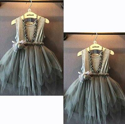2015 Niñas Ropa niños Vintage gris sin mangas tul vestido niños fiesta Vestido 2-7