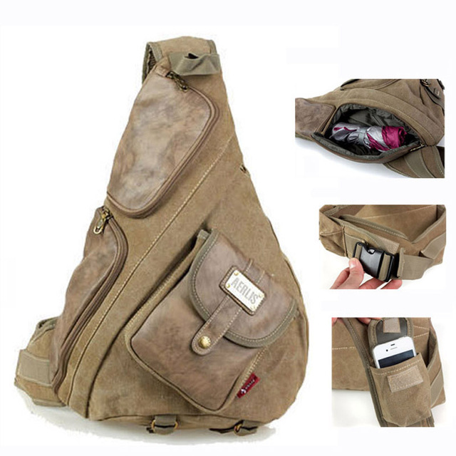 5127fdbcf2 Tactical canvas and leather messenger bag for men Vintage men s big sling  bags bolsas Black Khaki Army green 6218 Free shipping