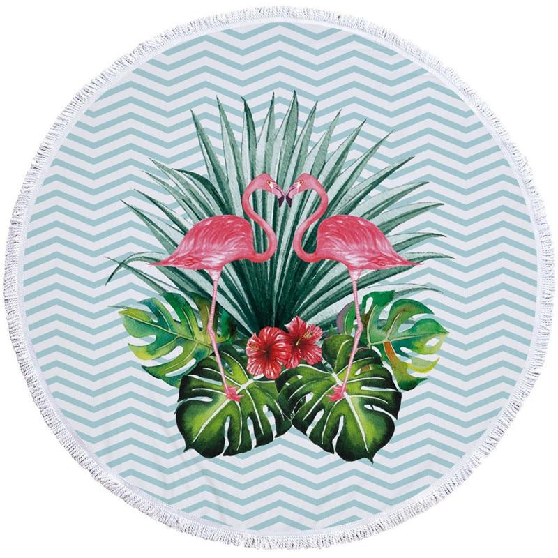 2019 Ins Sjaal Microvezel Strandlaken Custom Europese & Amerikaanse Flamingo Digitale Circulaire Print Strandlaken Tasse Voor Vrouwen Verfrissing