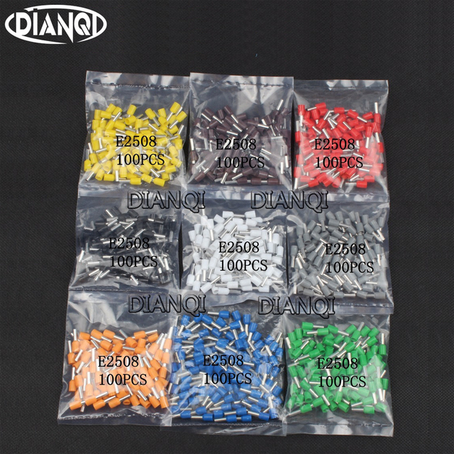 DIANQI E2508 Tube insulating terminals 2.5MM2 100PCS/Pack Insulated Cable Wire Connector Insulating Crimp Terminal Connector E-