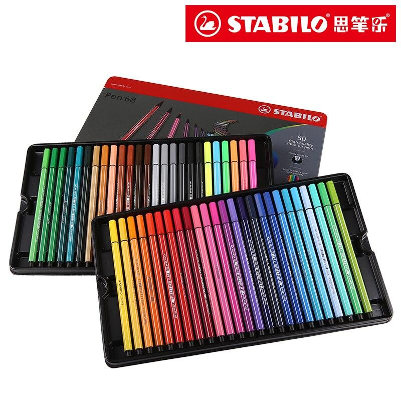 Stabilo stylo aquarelle 40 couleurs 1mm feutre pointe Art marqueur Fibre pointe fer boîte lavable pour artiste, enfants pinceau