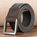 De los hombres de doble anillo de hebilla cintura algodón durable Cinturones Tácticos para Hombre Top de Los Hombres de La Correa doble capa de lona de algodón puro cinturón