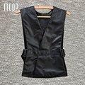 Черный кожаный жилет 100% овчины куртка женщины регулируемый талия кожаный жилет пальто colete chalecos mujer LT598