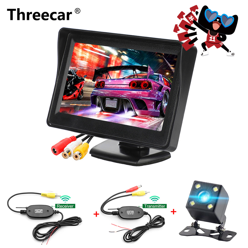 800*480 HD Car Monitor 4.3 TFT LCD Auto Car Display Monitor For Rearview Parking Camera With Reverse Camera Monitor NTSC PAL цена
