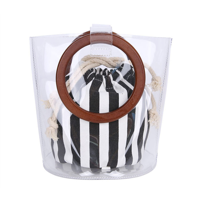 2018 Clear Transparent Bucket PVC Bag Barrel Shaped Small Mini Wood Handle Handbags Women Fresh Summer Beach Bag Leisure Purses clear wood handle bag with sequin pouch