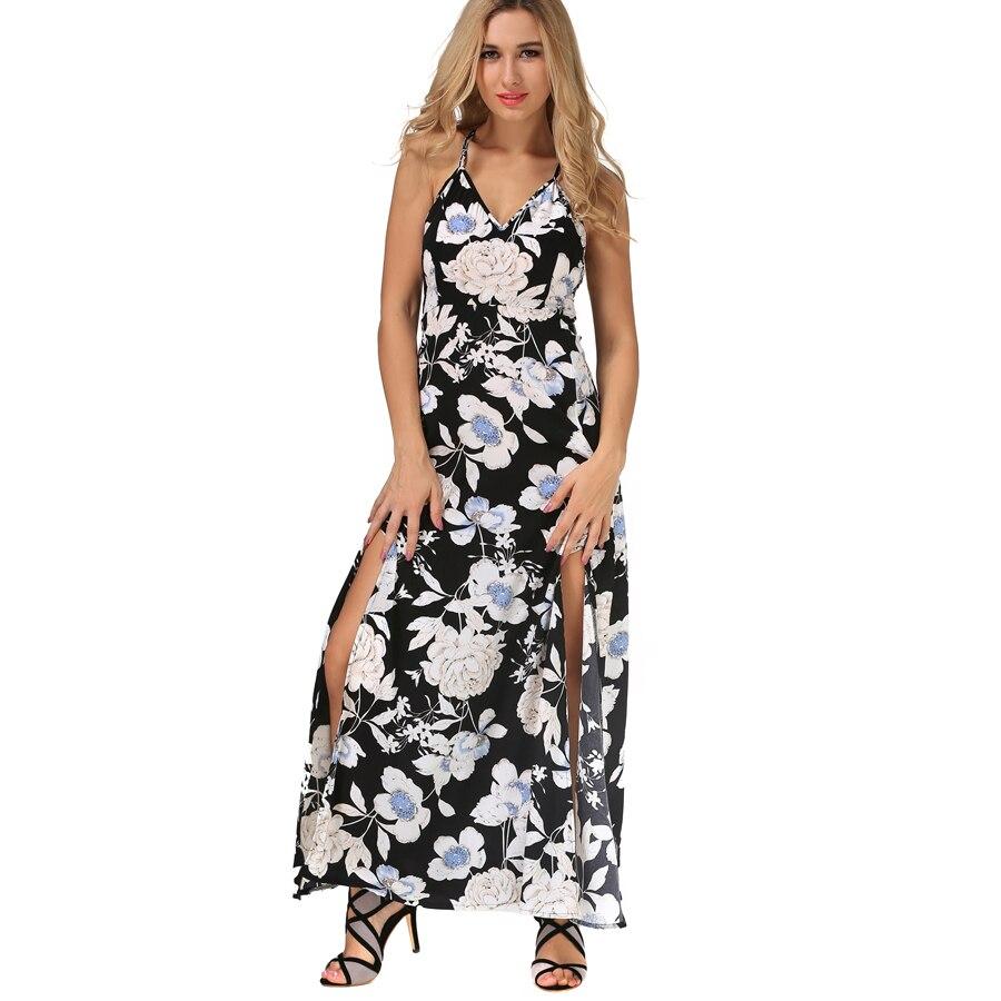 bb81cfca59 2017 Lato Nowych Moda damska Sexy Krzyż Backless Kwiat Wydruku Szczupła  Kobiet Pasek Szyfonowa Sukienka Plaża Maxi Sukienki Na Co Dzień