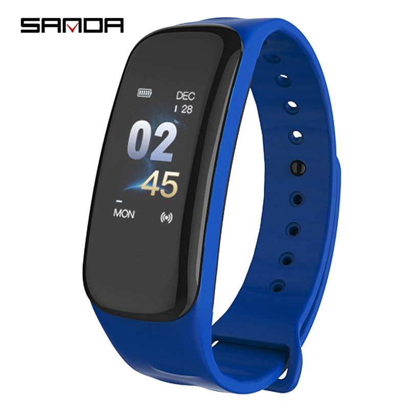 SANDA Smart Bracelet Heart Rate Blood Pressure Monitor Step Counter Waterproof Sports Bracelet v07 heart rate blood pressure monitor smart bracelet red