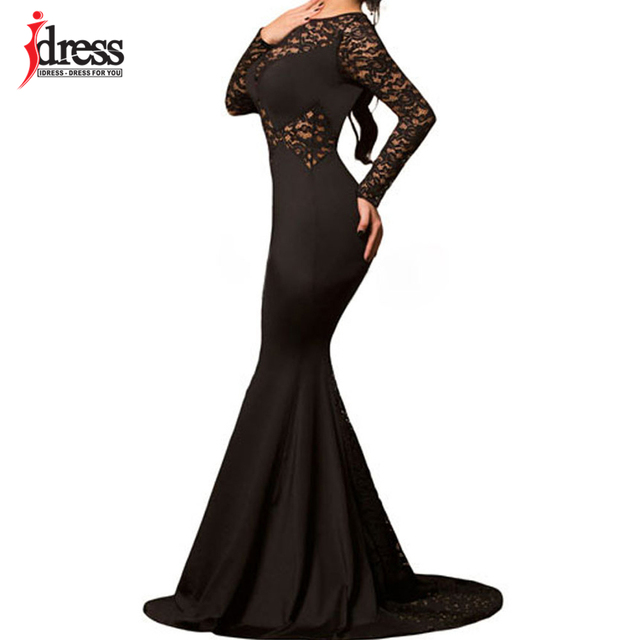 e39c674888a5a US $19.09 50% OFF|IDress High Quality New Evening Black Long Lace Sleeve  Mermaid Maxi Dress Sexy Party Gowns Robe De Soiree Longue Vestidos Largo-in  ...