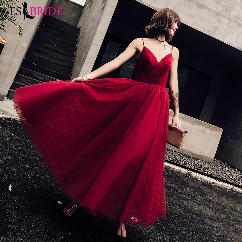 Evening Dresses Red Women Elegant Evening Dresses Sexy Formal Evening Gown V-neck Party Asymmetric Reception Evening Dresses Plus Size Es1845